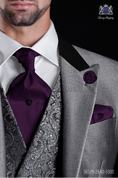 Purple satin ascot tie and pocket handkerchief