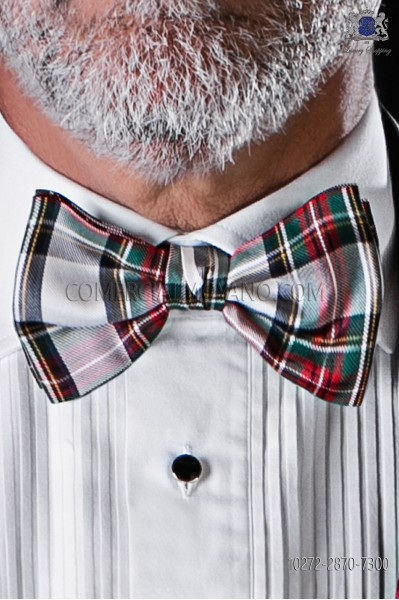 White, green and red silk tartan bow tie
