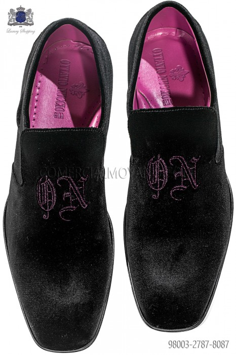 Black velvet slipper shoes with purple ON design embroidery