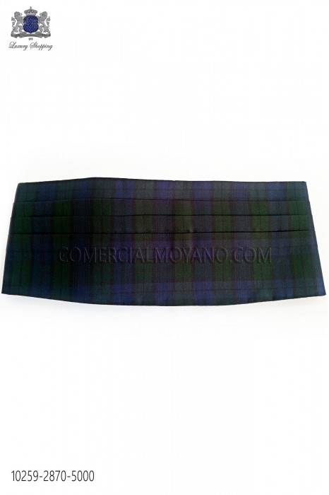 Blue and green tartan cummerbund