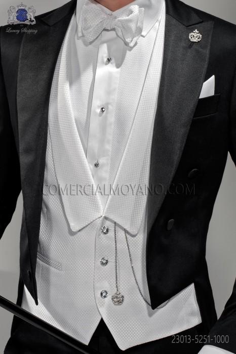 White dress waistcoat in satin fabric