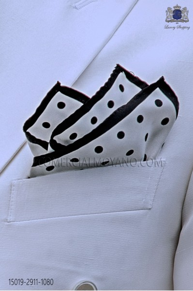 Pure silk white pocket square black polka dots
