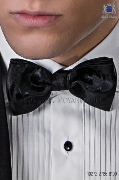 Plain black fake printed bow tie