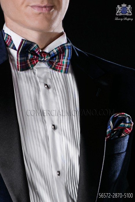 Tartan plaid bow tie and handkerchief in pure silk