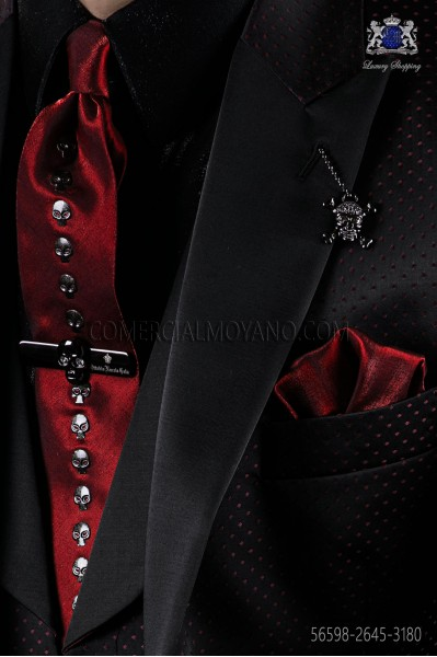 Red lurex necktie and scarf with skull appliques
