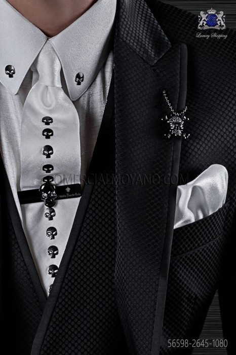 White lurex necktie and scarf with skull appliques