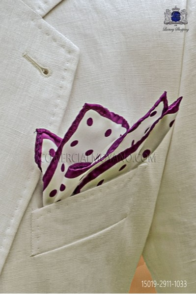 Pure silk white pocket square purple polka dots