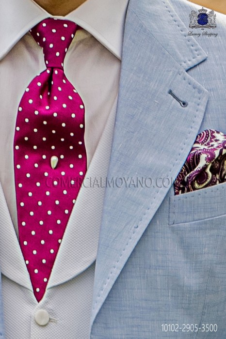 Fuchsia tie with white polka dots