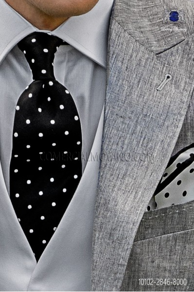 Silk black tie with white polka dots