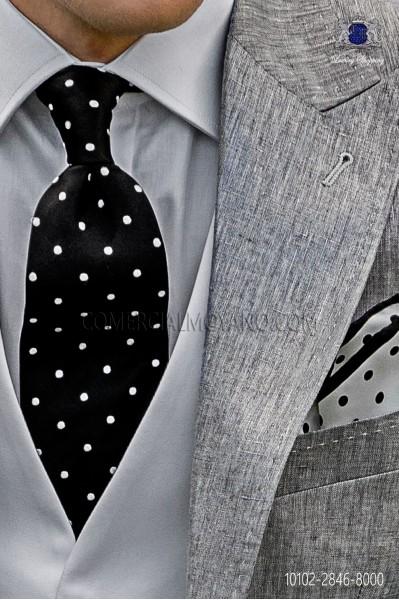 Silk black tie with white polka dots