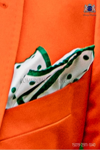 Pure silk white pocket square with green polka dots