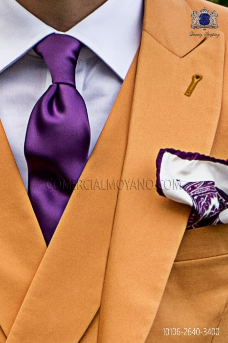 Narrow purple satin tie