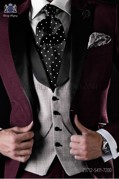 Waistcoat Prince of Wales with black satin shawl collar