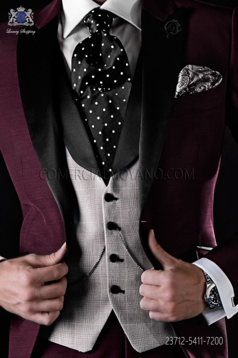 Waistcoat Prince of Wales with black satin shawl collar