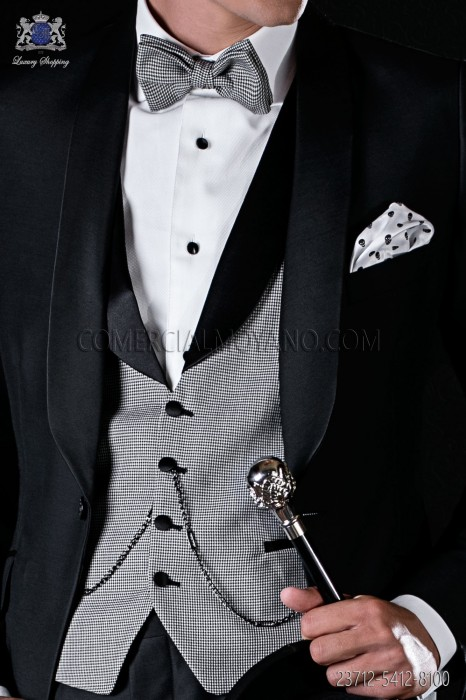 Waistcoat with black satin shawl collar