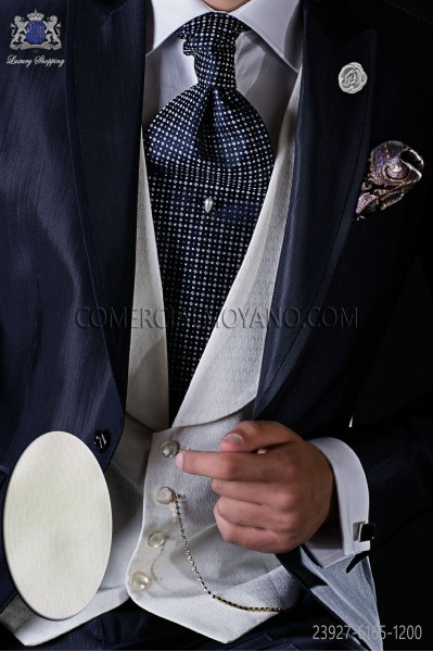Ivory micro design waistcoat with shawl collar