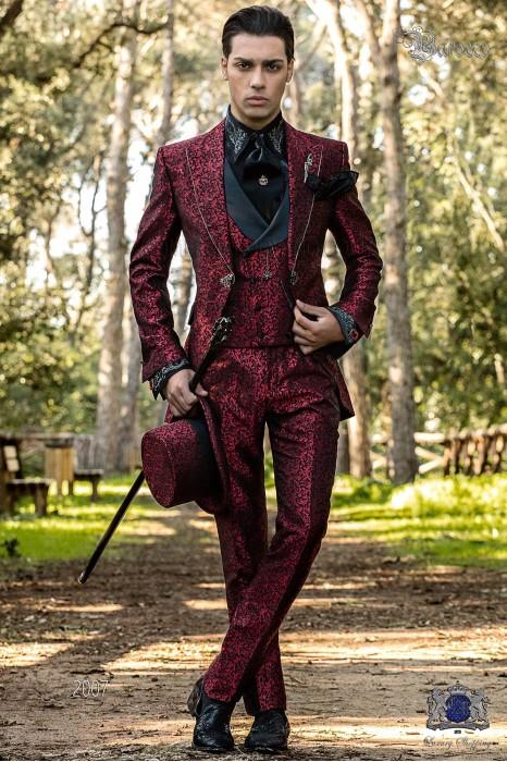 Traje de novio Barroco, Traje levita de época en jacquard rojo y negro con cristales strass en las solapas