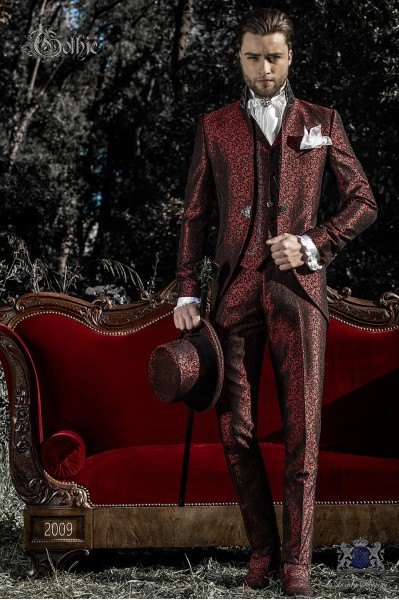 Vintage Men wedding frock coat in red-black brocade fabric with Mao collar with black rhinestones
