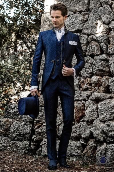 Vintage Men wedding frock coat in blue-black brocade fabric with Mao collar with black rhinestones