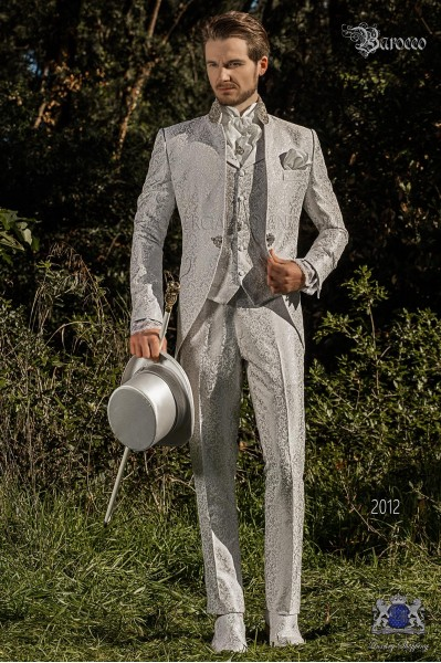 Vintage Men wedding frock coat in pearl gray brocade fabric with Mao collar with rhinestones
