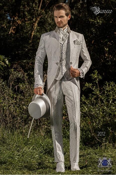 Vintage Men wedding frock coat in pearl gray brocade fabric with Mao collar with rhinestones