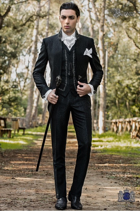 Vintage Men wedding frock coat in black brocade fabric with Mao collar with black rhinestones