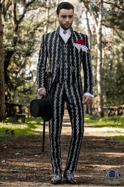 Baroque wedding suit, vintage frock coat in black-silver floral brocade fabric, Mao collar with black rhinestones