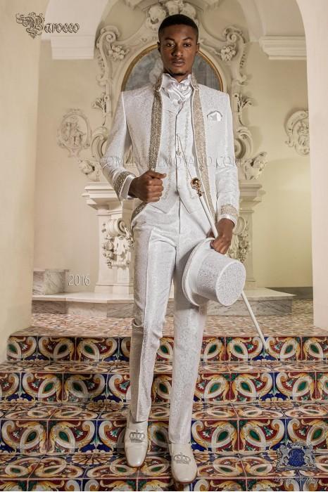 Baroque wedding suit, vintage frock coat in white floral brocade fabric, Mao collar with rhinestones