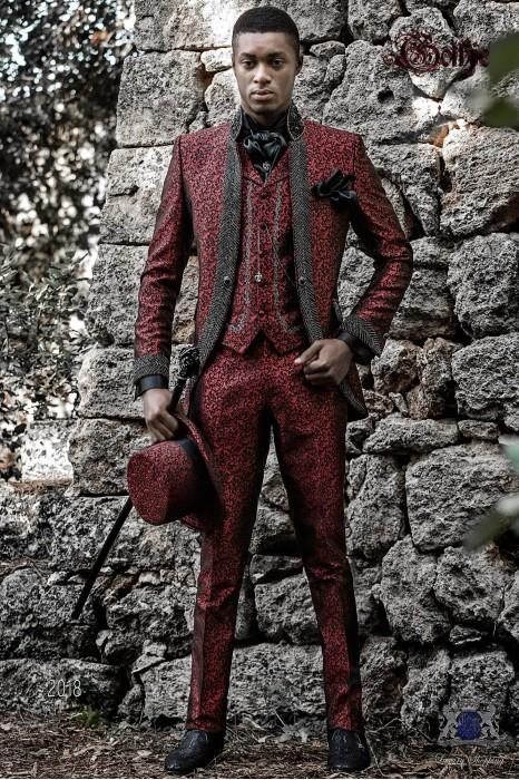 Vintage Men wedding frock coat in red brocade fabric with Mao collar with black rhinestones