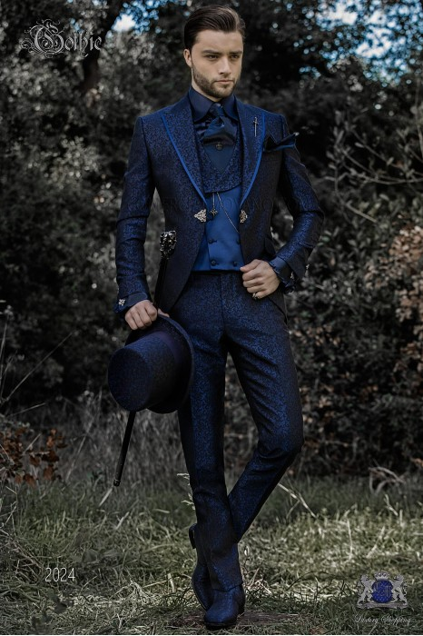 Baroque groom's suit, blue jacquard frock coat with pointed lapels edged with satin profile and clasp closure