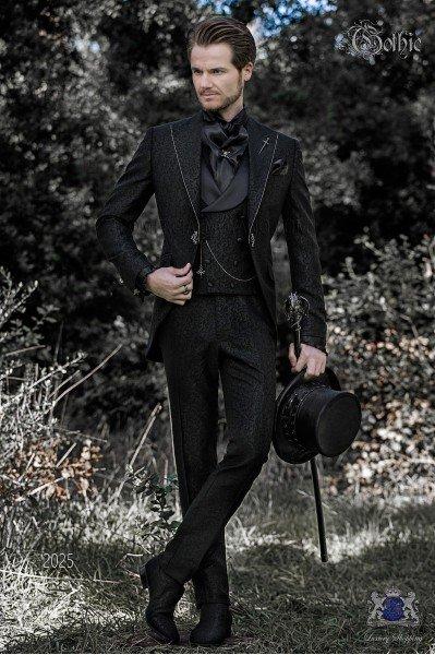 Traje de novio barroco, levita de época en tejido jacquard negro con cristales strass en las solapas