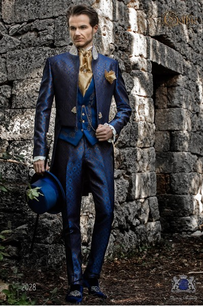 Baroque blue & gold brocade tail coat with crystal rhinestones on Mao collar.