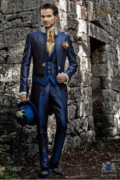 Frac barroco brocado azul y dorado con pedrería cristal en cuello Mao. Traje de novio 2028 Mario Moyano