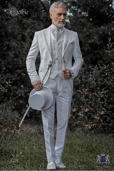 Baroque groom suit, vintage frock coat in white jacquard fabric with silver embroidery and crystal clasp