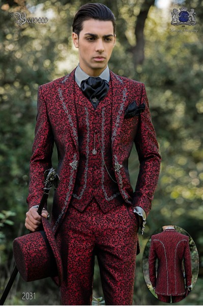 Baroque groom suit, vintage frock coat in red jacquard fabric with silver embroidery and crystal clasp