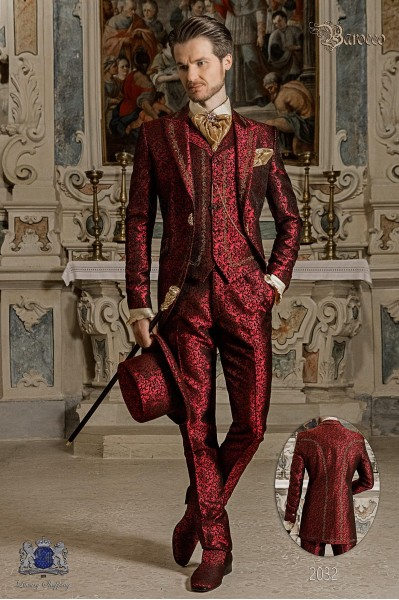 Baroque groom suit, vintage frock coat in red jacquard fabric with golden embroidery and crystal clasp