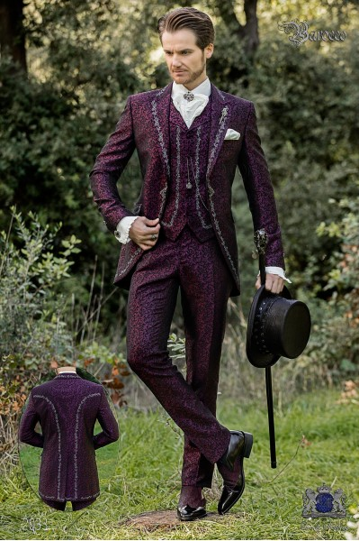 Baroque groom suit, vintage frock coat in purple jacquard fabric with silver embroidery and crystal clasp