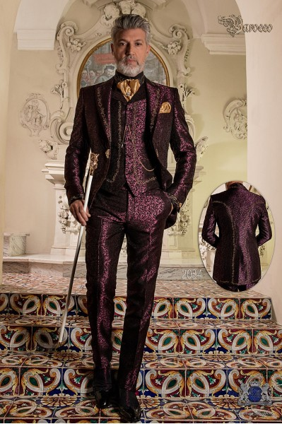 Baroque groom suit, vintage frock coat in purple jacquard fabric with golden embroidery and crystal clasp