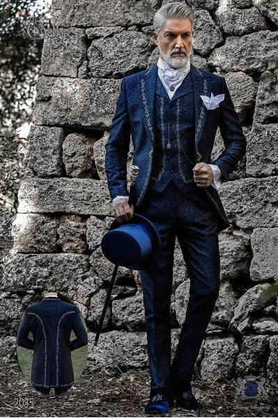 Baroque groom suit, vintage frock coat in blue jacquard fabric with silver embroidery and crystal clasp