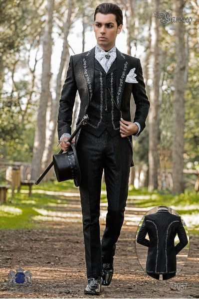 Baroque groom suit, vintage frock coat in black jacquard fabric with silver embroidery and crystal clasp