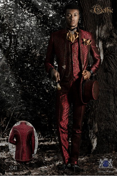 Baroque groom suit, vintage mao collar frock coat in red jacquard fabric with golden embroidery and crystal clasp