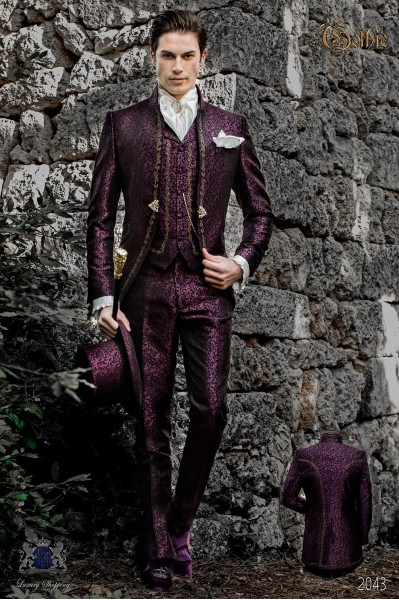 Baroque groom suit, vintage mao collar frock coat in purple jacquard fabric with golden embroidery and crystal clasp