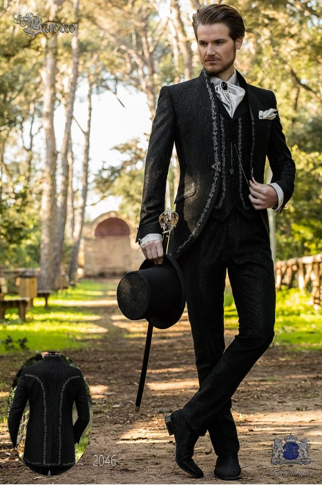 Baroque groom suit, vintage mao collar frock coat in black jacquard fabric with silver embroidery and crystal clasp