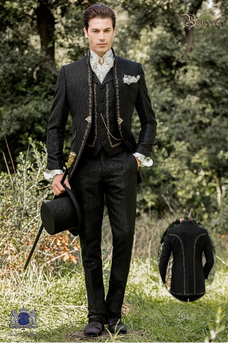 Baroque groom suit, vintage mao collar frock coat in black jacquard fabric with golden embroidery and crystal clasp