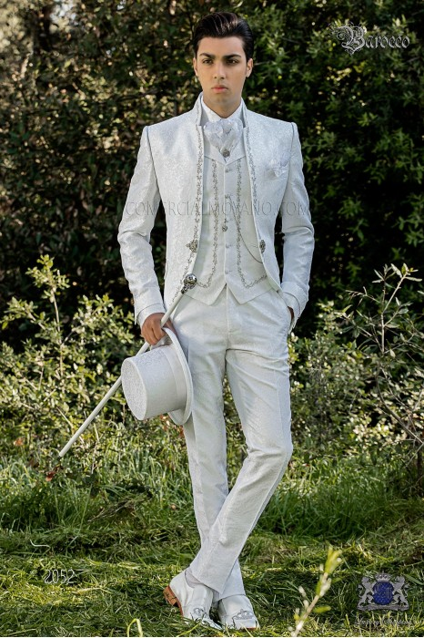 Baroque groom suit, vintage mao collar frock coat in white jacquard fabric with silver embroidery and crystal clasp