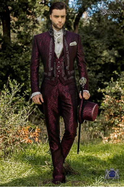 Baroque purple jacquard tailcoat with silver embroidery, crystal rhinestones on Mao collar and crystal brooch
