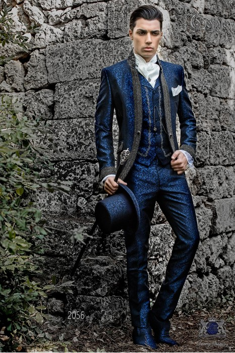 Baroque wedding suit, vintage mao frock coat in blue jacquard fabric with black rhinestones