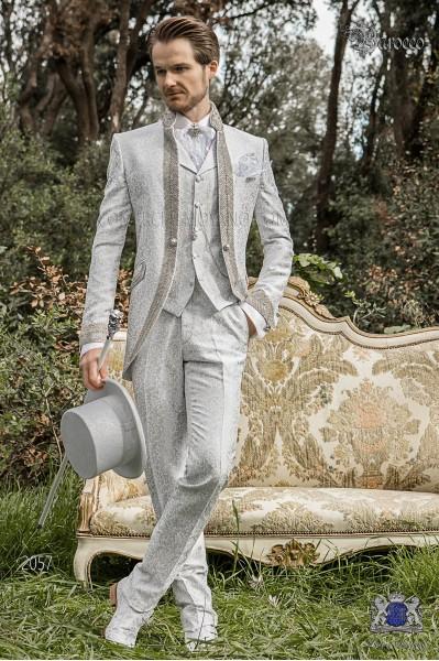 Baroque wedding suit, vintage Mao collar frock coat in pearl gray floral brocade fabric with rhinestones