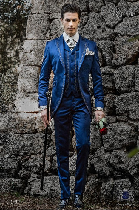 Baroque groom suit, vintage frock coat in blue satin fabric with silver embroidery and crystal clasp