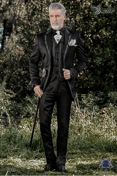 Baroque groom suit, vintage frock coat in black satin fabric with silver embroidery